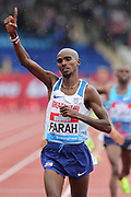 Mo Farah aka Mohamed Farah (GBR) celebrates after winning the 3,000m in 7:38.64 during the Grand Prix Birmingham in an IAAF Diamond League meet at Alexander Stadium in Birmingham, United Kingdom on Sunday, August 20, 2017. (Jiro Mochizuki/Image of Sport)