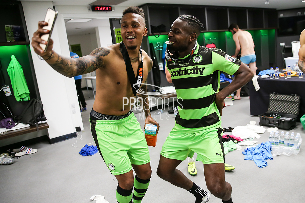 Forest Green Rovers Keanu Marsh-Brown(7) and Forest Green Rovers Dale Bennett(6) celebrate in the dressing room during the Vanarama National League Play Off Final match between Tranmere Rovers and Forest Green Rovers at Wembley Stadium, London, England on 14 May 2017. Photo by Shane Healey.