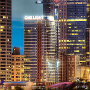 One Light Tower residential highrise building nearing completion in downtown Kansas City, Missouri.
