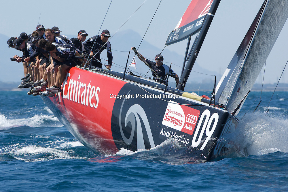 Emirates Team New Zealand approach the top mark in race two, day one, Sardinia Trophy, Audi MedCup 21/7/2009