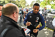 Callum Wilson (13) of AFC Bournemouth signs autographs on arrival before the Premier League match between Bournemouth and Tottenham Hotspur at the Vitality Stadium, Bournemouth, England on 4 May 2019.