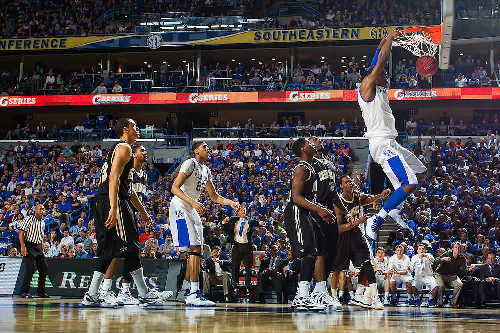 New Orleans , LA. - Game 11 of the 2012 SEC Men's Basketball Tournament between Kentucky and Vanderbilt, was played Sunday, March 11, 2012 at the New Orleans Arena. Kentucky forward Terrence Jones slams two in the first half.