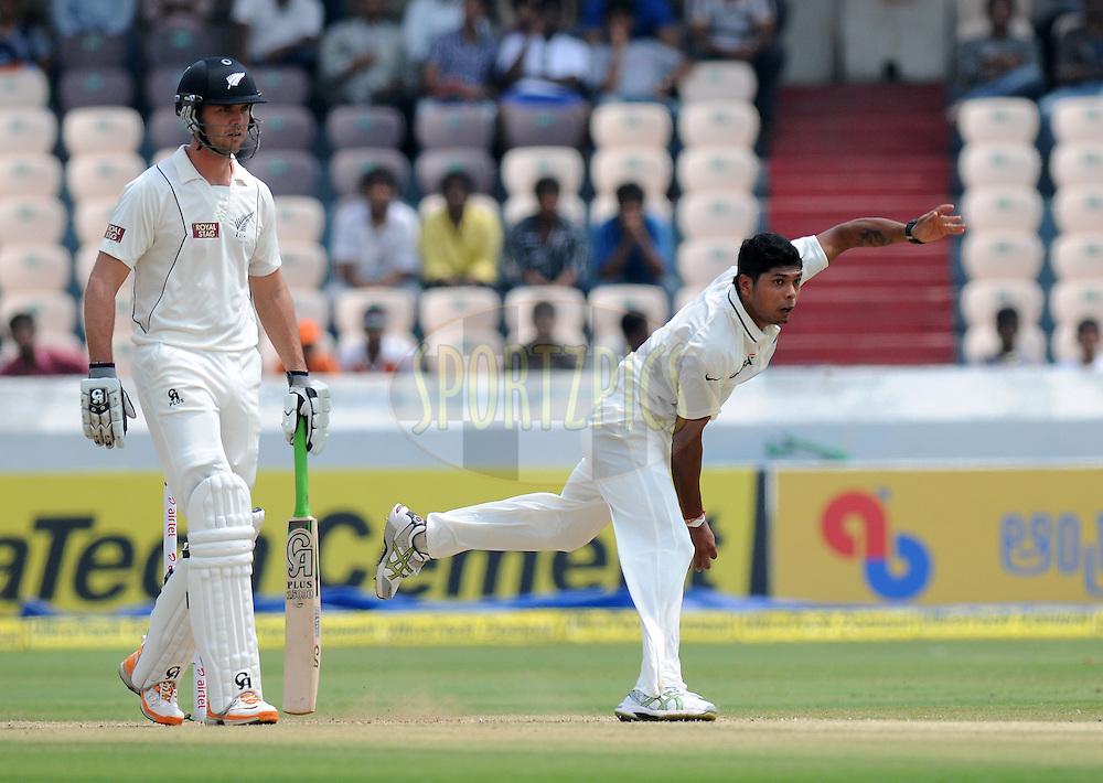 Umesh Yadav of India bowls during day three of the first test match between India and New Zealand held at The Rajiv Gandhi International Stadium in Hyderabad, India on the 25th August 2012..Photo by: Pal Pillai/BCCI/SPORTZPICS