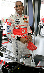 Melbourne. Australia - Sunday, March 3, 2007: Lewis Hamilton (GBR, Vodafone McLaren Mercedes) celebrates his third place finish at the opening Grand Prix of the Formula One World Championship in Australia.(Pic by Michael Kunkel/Propaganda/Hoch Zwei)