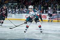 KELOWNA, CANADA - FEBRUARY 28: Nick Merkley #10 of Kelowna Rockets skates against the Calgary Hitmen on February 28, 2015 at Prospera Place in Kelowna, British Columbia, Canada.  (Photo by Marissa Baecker/Shoot the Breeze)  *** Local Caption *** Nick Merkley;