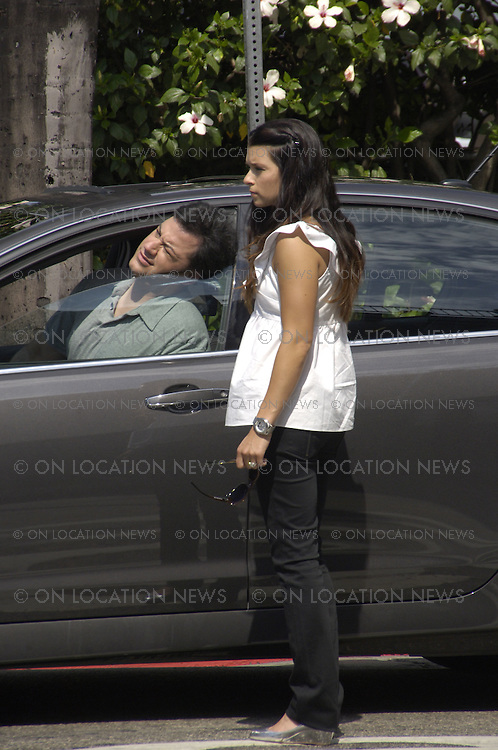LOS ANGELES, CALIFORNIA - MONDAY 4TH AUGUST 2008 EXCLUSIVE: Jimmy Kimmel shoots a skit with race car driver Danica Patrick for The Jimmy Kimmel Show. Photograph: On Location News. Sales: Eric Ford 1/818-613-3955 info@OnLocationNews.com
