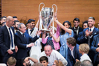 Real Madrid team pose with Madrid Mayor Manuela Carmena and Begona Villacis during visit to Madrid Council during  the celebration of the 13th UEFA Championship in Madrid, June 04, 2017. Spain.<br /> (ALTERPHOTOS/BorjaB.Hojas)