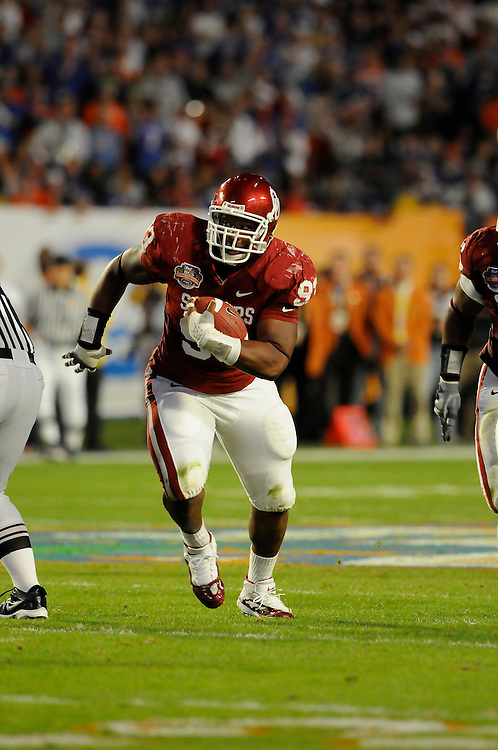 January 8, 2009: Gerald McCoy of the Oklahoma Sooners in action during the NCAA football game between the Florida Gators and the Oklahoma Sooners in the 2009 BCS National Championship Game. The Gators defeated the Sooners 24-14.