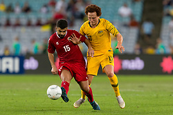 November 20, 2018 - Sydney, NSW, U.S. - SYDNEY, AUSTRALIA - NOVEMBER 20: Lebanon player Samir Ayass (15) and Australian midfielder Mustafa Amini (17) battle for the ball at the international soccer match between Australia and Lebanon on November 20, 2018, at ANZ Stadium in NSW, Australia. (Photo by Speed Media/Icon Sportswire) (Credit Image: © Speed Media/Icon SMI via ZUMA Press)
