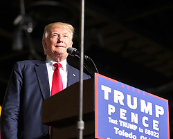 October 27, 2016 - Toledo, Ohio, United States - Donald Trump speaks to supporters  during a campaign rally at SeaGate Center in Toledo, Ohio, United States on October 27, 2016. (Credit Image: © Emily Molli/NurPhoto via ZUMA Press)
