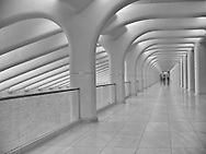 Mezzanine of pedestrian pathway  designed by architect Santiago Calatrava, leading from Brookfield Place to the lobby of One World Trade Center.