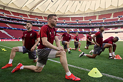 MADRID, SPAIN - Friday, May 31, 2019: Liverpool's James Milner during a training session ahead of the UEFA Champions League Final match between Tottenham Hotspur FC and Liverpool FC at the Estadio Metropolitano. (Pic by Handout/UEFA)