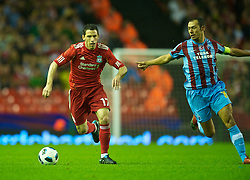 LIVERPOOL, ENGLAND - Thursday, August 19, 2010: Liverpool's Maximiliano Ruben Maxi Rodriguez in action against Trabzonspor during the UEFA Europa League Play-Off 1st Leg match at Anfield. (Pic by: David Rawcliffe/Propaganda)