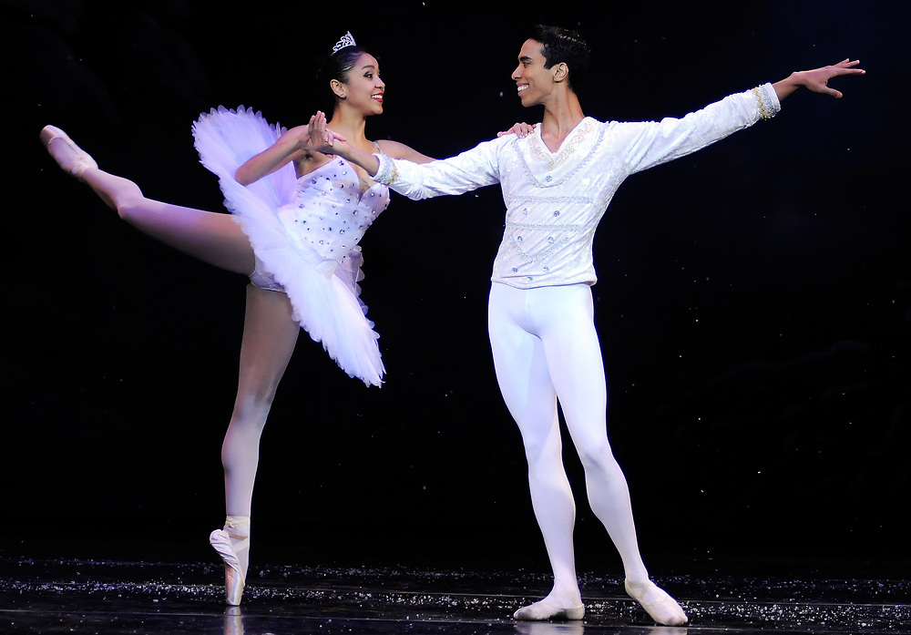 "Snow Queen Nayara Lopes and the Snow Cavelier Francis Lawrence both of the Dance Theatre of Harlem perform in the dress rehearsal of Ballet Arts Worcester's production of ""The Nutcracker"" at the Hanover Theatre for the Performing Arts on Friday, Nov. 28, 2014."