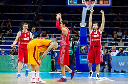 Andrey Vorontsevich of Russia, Pero Antic of Macedonia, Aleksey Shved of Russia and Sergey Monya of Russia after the basketball game between National basketball teams of F.Y.R. of Macedonia and Russia of 3rd place game of FIBA Europe Eurobasket Lithuania 2011, on September 18, 2011, in Arena Zalgirio, Kaunas, Lithuania. Russia defeated Macedonia 72-68 and won bronze medal. (Photo by Vid Ponikvar / Sportida)