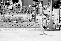 June 23, 2018 - L'Aquila, Italy - (EDITORS NOTE: Image has been converted to black and.white.) Guilherme Clezar during match between Facundo Bagnis (ARG) and Guilherme Clezar (BRA) during Men Semi-Final match at the Internazionali di Tennis Citt dell'Aquila (ATP Challenger L'Aquila) in L'Aquila, Italy, on June 23, 2018. (Credit Image: © Manuel Romano/NurPhoto via ZUMA Press)