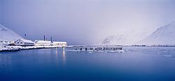 Bryggja við höfnina á Siglufirði að vetri til / Whatf at the harbour at Siglufjordur during winter