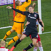 Nov 8, 2015; Harrison, NJ, USA; New York Red Bulls goalkeeper Luis Robles (31) saves the ball during the second half of the MLS Playoffs at Red Bull Arena. Mandatory Credit: William Hauser-USA TODAY Sports