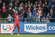 Jabo Ibehre (Carlisle United) reacts to his goal being disallowed by the assistant referee during the EFL Sky Bet League 2 match between Hartlepool United and Carlisle United at Victoria Park, Hartlepool, England on 14 April 2017. Photo by Mark P Doherty.