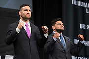 DALLAS, TX - MAY 12:  Chris Weidman faces off with Kelvin Gastelum during the UFC Summer Kickoff Press Conference at the American Airlines Center on May 12, 2017 in Dallas, Texas. (Photo by Cooper Neill/Zuffa LLC/Zuffa LLC via Getty Images) ***Local Caption***  Chris Weidman; Kelvin Gastelum