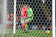 Dimitar Evtimov of Burton Albion (26) watches the ball roll into the net as Hayden Hackney of Middlesbrough (62) scores a goal during the EFL Trophy group stage match between Burton Albion and U21 Middlesbrough at the Pirelli Stadium, Burton upon Trent, England on 7 November 2018.