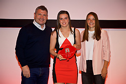 NEWPORT, WALES - Saturday, May 19, 2018: Samantha Wynne is presented with her Under-16's cap by Osian Roberts (left) and Lauren Dykes (right) during the Football Association of Wales Under-16's Caps Presentation at the Celtic Manor Resort. (Pic by David Rawcliffe/Propaganda)