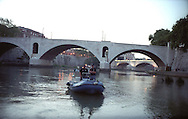 Rome  August 2004  .. Nautical squads  (Squadre nautiche), ...in patrol on the river Tevere