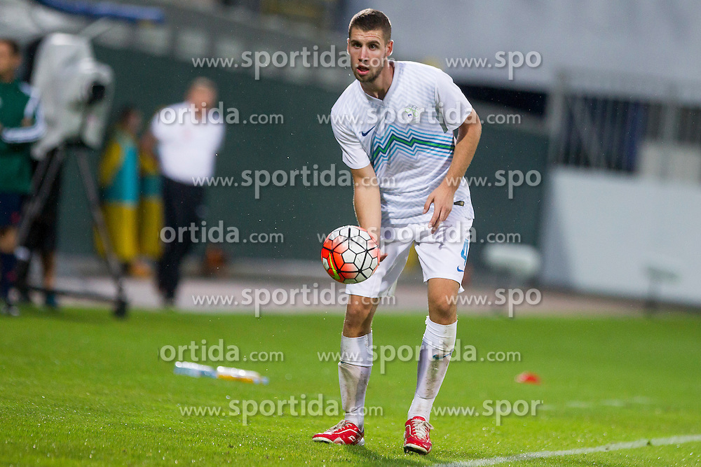 Kenan Bajric #4 of Slovenia during football match between U21 National Teams of Slovenia and Lithuania in 2nd Round of UEFA 2017 European Under-21 Championship Qualification on September 4, 2015 in Arena Petrol, Celje, Slovenia. Photo by Urban Urbanc / Sportida