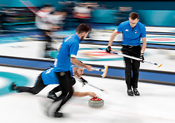 20.02.2018, Gangneung Curling Centre, Gangneung, KOR, PyeongChang 2018, Curling, Herren, Robin Session, im Bild Team Italien mit Mosaner Amos, Retornaz Joel, Gonin Simone, Ferrazza Daniele, Pilzer Andrea // Team italy with Mosaner Amos Retornaz Joel Gonin Simone Ferrazza Daniele Pilzer Andrea during the Mens Curling Robin Session of the Pyeongchang 2018 Winter Olympic Games at the Gangneung Curling Centre in Gangneung, South Korea on 2018/02/20. EXPA Pictures © 2018, PhotoCredit: EXPA/ Johann Groder