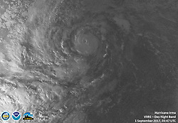 September 1, 2017 - Atlantic Ocean, U.S. - Irma Infrared Night. Hurricane Irma intensified into a strong and 'potentially catastrophic' category 5 storm. By definition, category 5 storms deliver maximum sustained winds of at least 157 miles (252 kilometers) per hour. Irma's winds that morning approached 180 miles per hour, the strongest ever measured for an Atlantic hurricane outside of the Gulf of Mexico or north of the Caribbean. (Credit Image: © NOAA/NASA via ZUMA Wire/ZUMAPRESS.com)