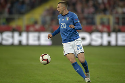 October 14, 2018 - Chorzow, Poland - Federico Bernardeschi of Italy controls the ball during the UEFA Nations League A match between Poland and Italy at Silesian Stadium in Chorzow, Poland on October 14, 2018  (Credit Image: © Andrew Surma/NurPhoto via ZUMA Press)