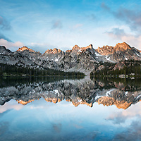Single Image capture of Alice Lake, Idaho. Storm clouds on each side clear for sunrise.