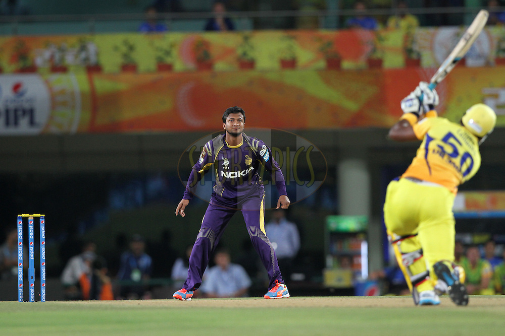 Shakib Al Hasan of the Kolkata Knight Riders during match 21 of the Pepsi Indian Premier League Season 2014 between the Chennai Superkings and the Kolkata Knight Riders  held at the JSCA International Cricket Stadium, Ranch, India on the 2nd May  2014Photo by Deepak Malik / IPL / SPORTZPICSImage use subject to terms and conditions which can be found here:  http://sportzpics.photoshelter.com/gallery/Pepsi-IPL-Image-terms-and-conditions/G00004VW1IVJ.gB0/C0000TScjhBM6ikg