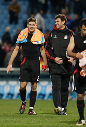 MARSEILLE, FRANCE - Tuesday, December 11, 2007: Liverpool's captain Steven Gerrard MBE celebrates with goalkeeping coach Xavi Valero after his side's 4-0 victory over Olympique de Marseille during the final UEFA Champions League Group A match at the Stade Velodrome. The win secures the Reds' place in the knock-out phase of the competition. (Photo by David Rawcliffe/Propaganda)