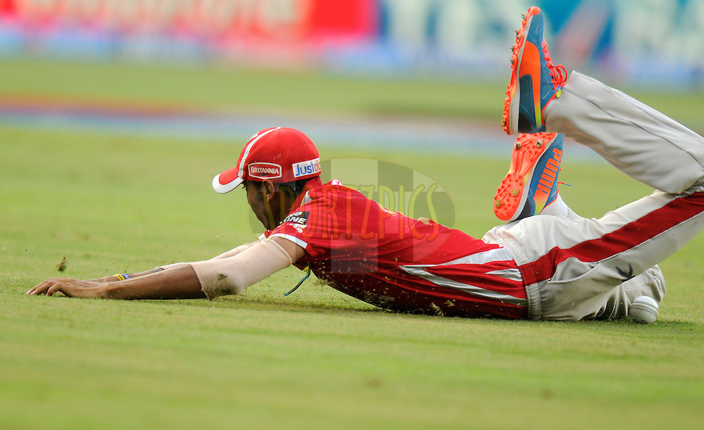 Akshar Patel of the Kings X1 Punjab drops a catch during match 22 of the Pepsi Indian Premier League Season 2014 between the Mumbai Indians and the Kings XI Punjab held at the Wankhede Cricket Stadium, Mumbai, India on the 3rd May  2014<br /> <br /> Photo by Pal Pillai / IPL / SPORTZPICS<br /> <br /> <br /> <br /> Image use subject to terms and conditions which can be found here:  http://sportzpics.photoshelter.com/gallery/Pepsi-IPL-Image-terms-and-conditions/G00004VW1IVJ.gB0/C0000TScjhBM6ikg