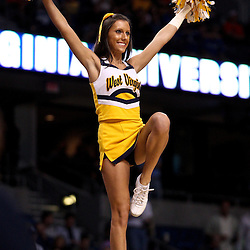 Mar 17, 2011; Tampa, FL, USA; West Virginia Mountaineers cheerleaders  during the first half of the second round of the 2011 NCAA men's basketball tournament against the Clemson Tigers at the St. Pete Times Forum.  Mandatory Credit: Derick E. Hingle