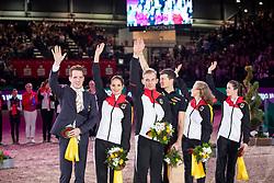 DERKS Janika (GER), HEILAND Jannik (GER), BRESCH Theresa Sophie JACOBS Torben (GER), Danny Boy Old<br /> Leipzig - Partner Pferd 2019<br /> Siegerehrung<br /> FEI Vaulting World Cup 2. Umlauf<br /> 19. Januar 2019<br /> © www.sportfotos-lafrentz.de/Stefan Lafrentz