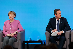 © Licensed to London News Pictures. 04/02/2016. London, UK. Prime Minister David Cameron and Chancellor of Germany Angela Merkel speaking at a press conference at 'Supporting Syria and the Region Conference' in London on February 4, 2016. Photo credit: Tolga Akmen/LNP