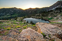 Cecret Lake sunrise in the high elevations of the Wasatch Front Mountains.