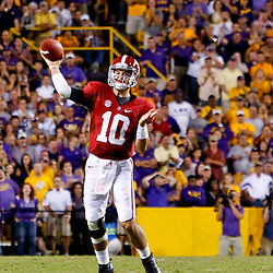 November 3, 2012; Baton Rouge, LA, USA;  Alabama Crimson Tide quarterback AJ McCarron (10) throws against the LSU Tigers during a game at Tiger Stadium. Alabama defeated LSU 21-17. Mandatory Credit: Derick E. Hingle-US PRESSWIRE