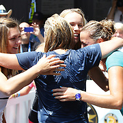 Tournament Director Anne Worcester (centre), takes the ALS Ice Bucket Challenge with the help of Tennis players Simona Halep, (left), Caroline Wozniack, (centre), and Petra Kvitova, (right), during the Connecticut Open at the Connecticut Tennis Center at Yale, New Haven, Connecticut, USA. 17th August 2014. Photo Tim Clayton