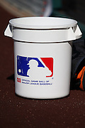 ANAHEIM, CA - MAY 21:  A baseball bucket sits on the dirt during batting practice before the Los Angeles Angels of Anaheim game against the Houston Astros at Angel Stadium on Wednesday, May 21, 2014 in Anaheim, California. The Angels won the game 2-1. (Photo by Paul Spinelli/MLB Photos via Getty Images)