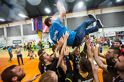 Players of RK Gorenje Velenje throwing Zoran Jovicic head coach of RK Gorenje Velenje after winning Slovenian cup during handball match between RK Gorenje Velenje and MRK Krka in Final of Slovenian Men Handball Cup 2018/19, on Maj 12, 2019 in Novo Mesto, Slovenia. Photo by Grega Valancic / Sportida