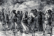 Fugitive slaves fleeing from Maryland to Delaware by way of the 'Underground Railroad', 1850-1851. Engraving.