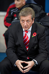 BOLTON, ENGLAND - Sunday, October 31, 2010: Liverpool's manager Roy Hodgson before the Premiership match against Bolton Wanderers at the Reebok Stadium. (Pic by: David Rawcliffe/Propaganda)