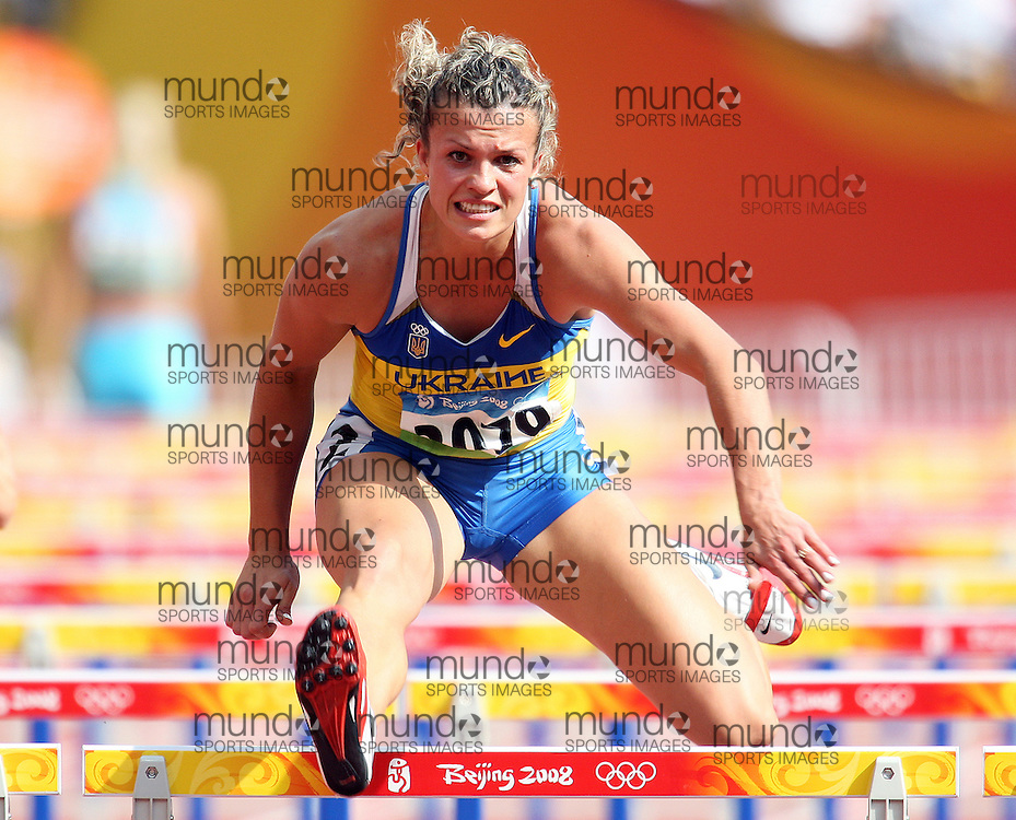 2008 Beijing Olympic Games-Day 1 morning session August 15th, 2008. Photo: Claus Andersen *** Nataliia Dobrynska -- Heptathlon 100m hurdles, Ukraine *** Day 1 Morning Session