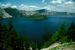 OR: Oregon; Crater Lake National Park, scenic view of Lake and Wizard Island         .Photo Copyright Lee Foster, lee@fostertravel.com, www.fostertravel.com, (510) 549-2202.Image orcrat215