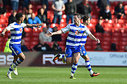 Reading striker Yann Kermorgant (18) celebrates after scoring a goal to make it 3-2 during the EFL Sky Bet Championship match between Nottingham Forest and Reading at the City Ground, Nottingham, England on 22 April 2017. Photo by Jon Hobley.