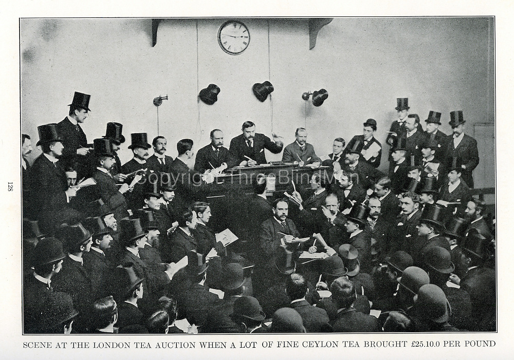 Scene at London Tea Auction. 7th May 1891<br />