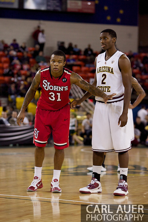 November 27th, 2010:  Anchorage, Alaska - St. John's Malik Stith (31) and Arizona State's Brandon Dunson (2) in the Championship game of the Great Alaska Shootout.  The Red Storm would go on to beat the Arizona State Sun Devil's 67-58 to capture their first Shootout championship.